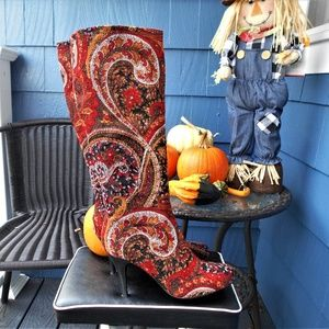 Diba Women's Red/Multi Color Tapestry Boots